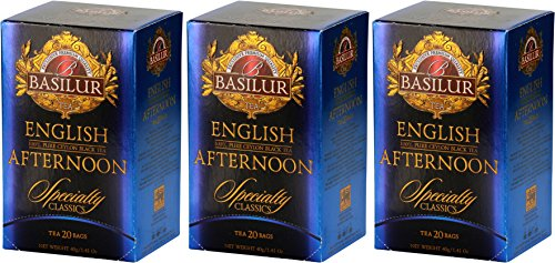 Basilur | English Afternoon Tea | Ultra- Premium Ceylon Black Tea | Specialty Classics Collection | 20 Count Foil Enveloped (Pack of 3)
