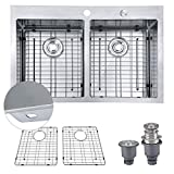 MOWA HTD33DEX Pro Series Tight Radius Handmade 33'' 16 Gauge Stainless Steel Top Mount 50/50 Double Bowl Modern Kitchen Sink, 9 Gauge Extra Thick Deck w/Basket Strainers, Sink Bottom Protection Grids