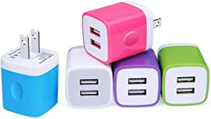 USB Wall Charger, NonoUV 5-Pack 2.1A/5V Dual Port USB Plug Power Adapter Charging Cube Compatible with iPhone 11 Pro Max XR XS X 8 7 6 Plus, Samsung Galaxy S20 S10 A50 A80, LG, Kindle, Android Phone