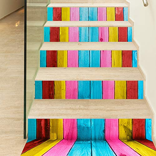 decalmile Stair Sticker Colorful Wood Stripe Stairway Decals DIY Self-Adhesive Waterproof Steps Sticker Home Decor (1set=18x100cmx6pcs)