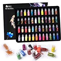 Hapree 48 Glitter Jars 3D Nail Art Decoration Glitter Powder Sequins Set for Face Eye Hair Body Nail Art Craft Scrapbook Party Invitation DIY Slime Making