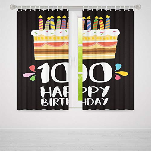 C COABALLA Decor Collection,100th Birthday Decorations,for Bedroom Living Dining Room Kids Youth Room,Old Legacy 100 Birthday Party Cake Candles on Black Backdrop2 Panel Set,70W X 98L Inches ()