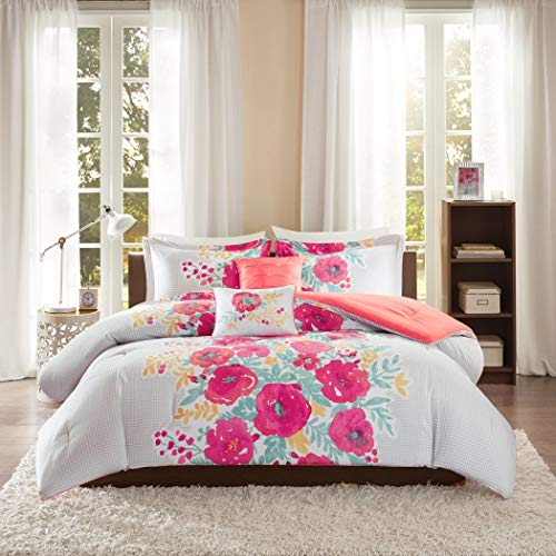5 Piece Girls Pink Orange Green White Floral Theme Comforter Full Queen Set, Chic Girly Multi Flower Motif Bedding, All Over Abstract Flowers Leaf Themed Gingham Plaid Pattern, Fuchsia Coral Seafoam
