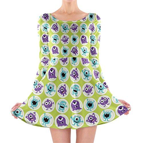 Funny Monsters Longsleeve Skater Dress Kleid mit langen Ärmel XS-3XL