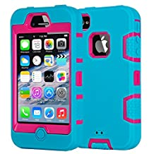 Case iPhone 4S Shockproof Case iPhone 4 Phone Cover Hybrid Case Dustproof iPhone 4 4S Protective Hard Cover Sky Blue