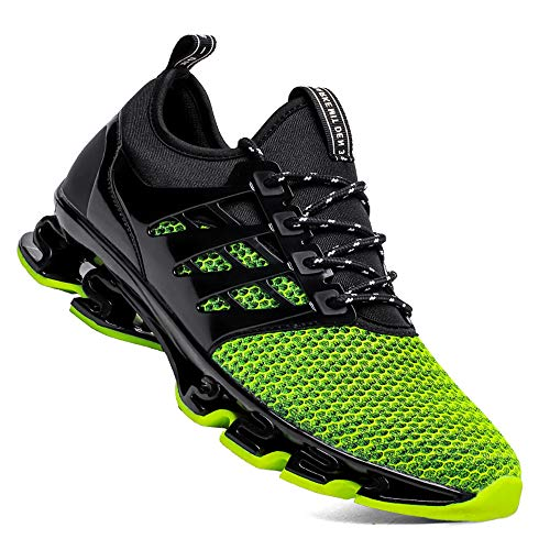 TSIODFO Men Athletic Walking Shoes mesh Breathable Comfort Springblade Youth Boys Trail Running Shoes Man Gym Workout Jogging Blade Tennis Sneakers Size 6.5 (8066-Green-39)