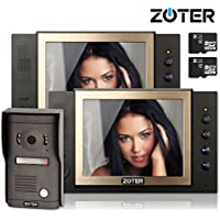 Generic 8 inch Color LCD Wired Video Door Phone Doorbell Home Entry Intercom Kit System 2 Monitor 1 Camera with SD Recording Night Vision 801D2 (Black)