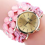 SINMA Analog Flowers Watch Women's Fashion Casual Bracelets Quartz Dress Watches Gift for CCQ (Pink)