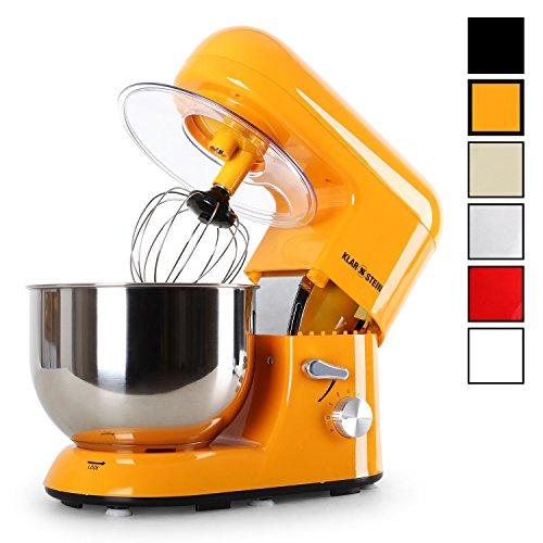Klarstein TK2-BELLA ORANGINA Küchenmaschine leistungsstarke Knet- und Rührmachine, 1200 W, 5 L, Edelstahl Rührschüssel, inklusive Aufsatz-Set, orange