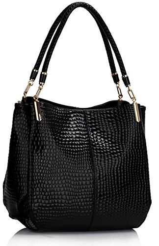 ANNA GRACE - Bolso de asas de piel sintética para mujer Design 1 - Black