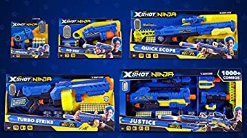 XShot Ninja Quick Scope Foam Dart Blaster (12 Darts, Dog-Tag, 3 Practice Cans) Limited Edition by ZURU