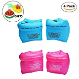 Furry Sunny PVC Arm Floaties Inflatable Swim Arm Bands Floater Sleeves Swimming Rings Tube Armlets for Kids Toddlers and Adults Pack of 4 with Drink Holder(Pink and Blue)
