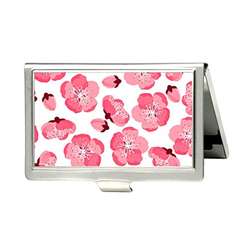 Udoosun Japanese Sakura Flowers Custom Personlized Stainless Steel Pocket Business Name Credit ID Card Case Box Wallet (Japanese Business Card)