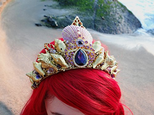 Easter Sale Ariel Gold Mermaid Crown by Star Stuff Boutique Mermaid Headress, Gold Headdress, High Energy Mermraid Headpiece, Seashell Tiara by Star Stuff Boutique