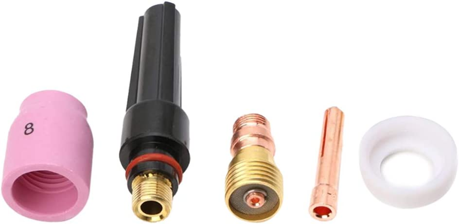 B Baosity 5X Tig Welding Torch Accessory Kits Collets Corp Glass Cup Alumina Nozzle for Tig Wp-17//18//26 Series