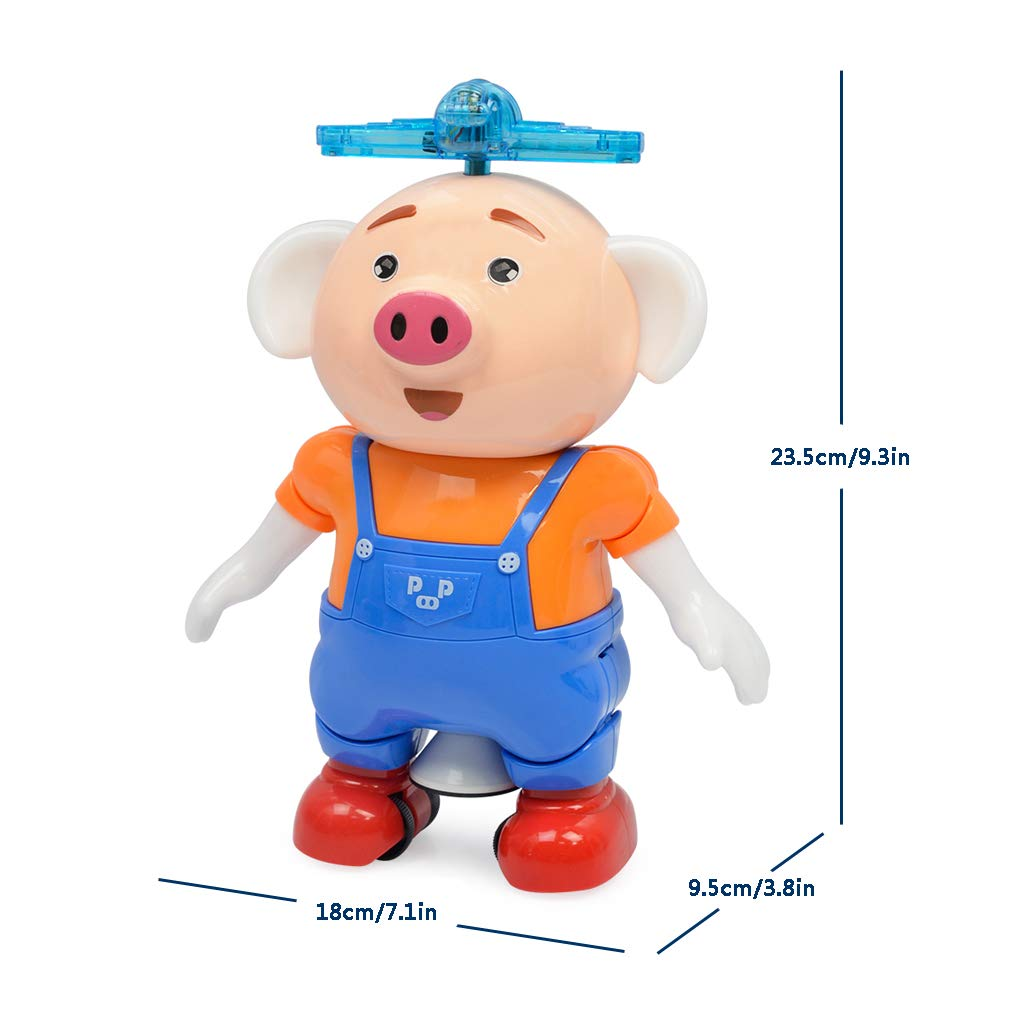 Orange Electric Musical Toys with Colorful Flashing Lights 360 Degree Stunt Rotating and Side Steps Electronic Robot Pig Toy Gift for Kids Boys and Girls Electronic Pet Dancing Pig