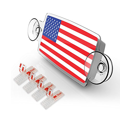 AutoBoxClub US FLAG - NEW EZ Pass, IPass Tag Holder/Transponder Holder/Toll Pass Windshield Mount/Genuine Reclosable Mounting Strips Included/UV-Protective/Installs in - Pass Holder Toll