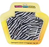 Passport Cover & Two Luggage Tags Set in Various Options Color Patterns (Zebra)