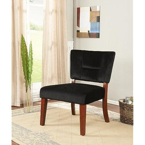Kingu0027s Brand Black Velvet Fabric With Cherry Finish Wood Legs Accent Chair