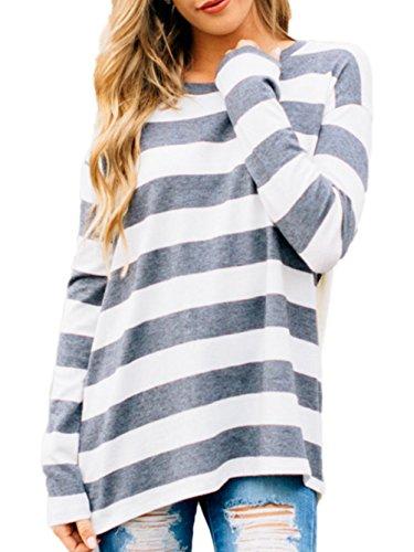 Famulily Women's Long Sleeve High Low Hem Loose Fit Oversized Striped Tee Shirt Tunic Tops(M,Dark Grey)