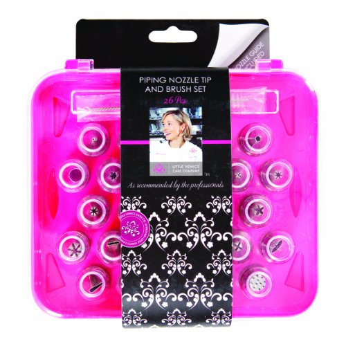 Little Venice Cake, 26-Piece Piping Nozzle Tip and Brush Set