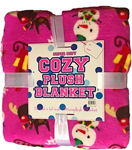 (Black Duck Brand Christmas/Holiday Pink Snowman Reindeer Soft Cozy Fleece Blanket)