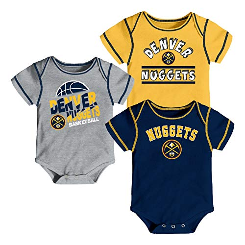 Outerstuff NBA Newborn Infants Rookie 3 Piece Creeper Bodysuit Set (3/6 Months, Denver Nuggets)