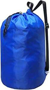 UniLiGis Laundry Bag Backpack with Strap, Nylon Dirty Clothes Shoulder Bag with Drawstring Closure, Tear Proof WashableLaundry Liners for Travel,Dorm Room,Dia 15x27 inches (RoyalBlue)
