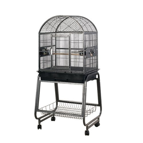 HQ's Opening Dome Cage, Small Parrot Cage With Cart Stand, 1 Per Box, 22x17x55''H, Black by Hq
