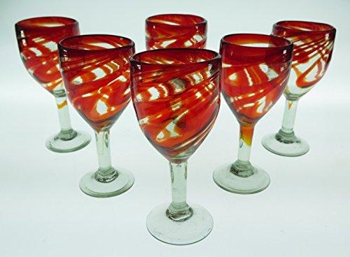(Wine Glasses, Hand Blown, Red Swirl 10 Oz (Set of 6))