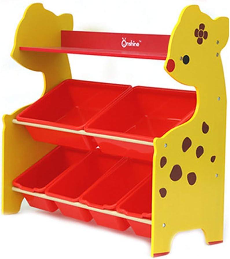 Auvem Wooden Children Toy Storage Rack, 3-Tier Toddler Kids Toy Storage Cabinet mit 6 Plastic Shelf Drawer Bins für Kid'S Playroom (Yellow)