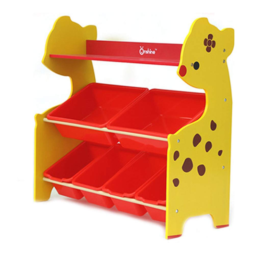 Berryhot Toddler's Toy Storage Organizer with 6 Plastic Bins Shelf Drawer for Kid's Bedroom Playroom, Yellow Rack (Yellow)