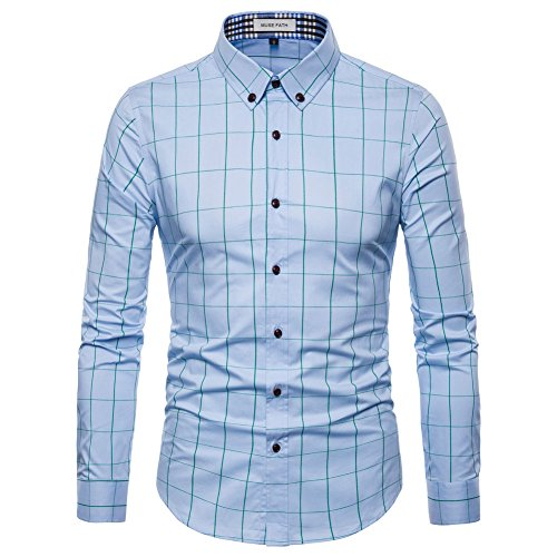 MUSE FATH Shirts for Men Long Sleeve-Cotton Plaid Shirt-Light Blue-S ()
