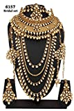 Bollywood Fashion Style Golden Plated Kundan Stone Polki Indian Necklace Earrings Bridal Set Jewelry
