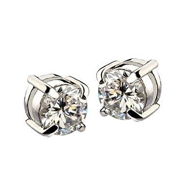 fábrica auténtica cce91 8c325 Pendientes - TOOGOO(R)1 par Pendientes de diamantes de imitacion de iman  Pendientes de hombre Blanco