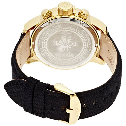 Invicta Mens 1515 I Force Collection 18k Gold Ion-Plated Watch with Black Cloth-Covered Band