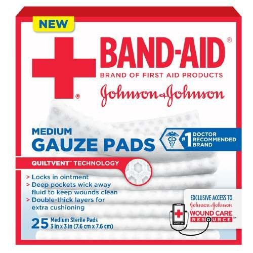 Johnson & Johnson, First Aid Medium Gauze Sterile Pads, (3 Inches X 3 Inches) - 25 Count (Pack of 3) by Band Aid