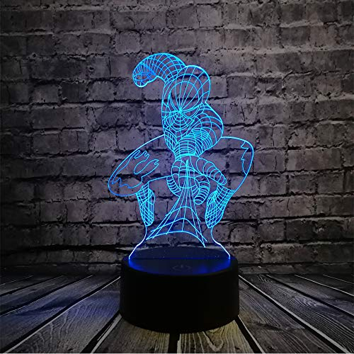 Spiderman Shade Lamp for Boy Room Kid Gradient Multicolor 7 Color Change Remote Control Led Night Light Kids Toys Table Lampara Creative Marvel Legend Super Hero ()