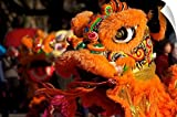 Canvas On Demand Wall Peel Wall Art Print entitled Chinese lion dance 60''x40''