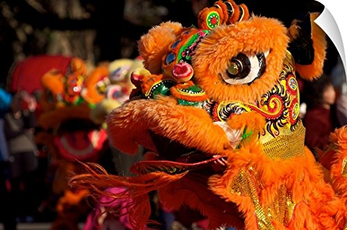 Canvas On Demand Wall Peel Wall Art Print entitled Chinese lion dance 60''x40'' by Canvas on Demand