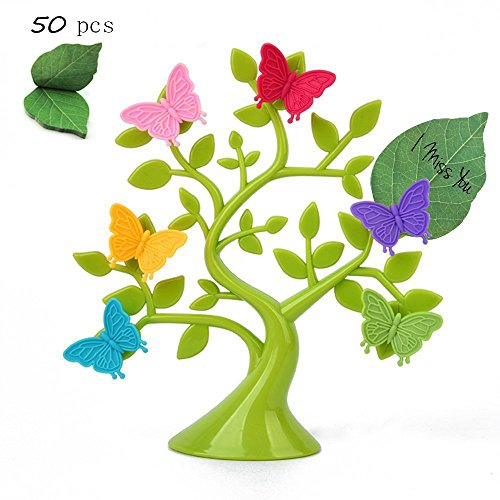 Butterfly Fridge magnet(set of 6)/Office Magnets/Dry Erase Board Magnets/Refrigerator Magnets/dry erase magnets Green Leaves Post-it Sticky Notes,Decorative and Stylish Lucky Funny Tree