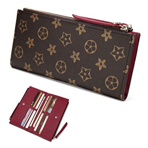Wallets for Women Leather Zipper Pocket Monogram 61269 Clutch Flower Purse RFID Blocking with Card Holder Organizer (duizheqianbao red)