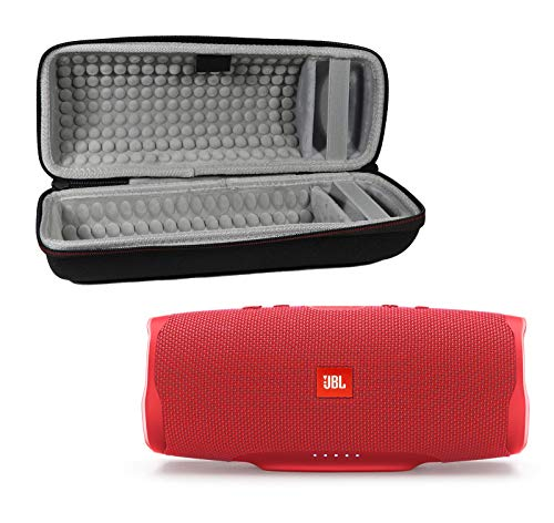 JBL Charge 4 Waterproof Wireless Bluetooth Speaker Bundle with Portable Hard Case - Red