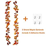 Lvydec 2 Pack Fall Maple Garland - 5.9ft/Piece