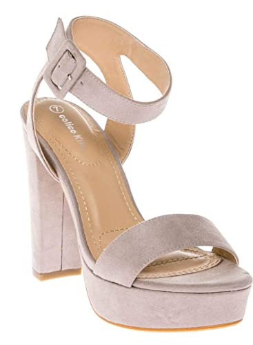6b7eafed97 CALICO KIKI Women's Shoes Buckle Ankle Strap Open Toe Chunky High Heel  Platform Dress Sandals (