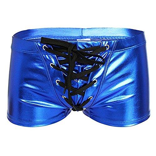 FJLOVE Mens Sexy Underwear Lace Up Boxer Bulge Pouch Briefs Wetlook Shiny Shorts Underpants 4 Colors,Blue,M