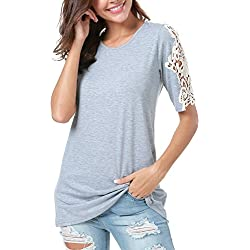 LAINAB Women Summer Hollow Out Short Sleeve Casual T Shirt Tunic Tops Blouse Gray L