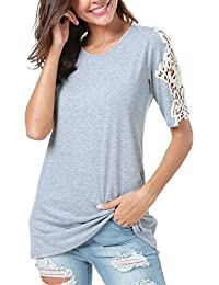 Women Summer Plain Lace Short Sleeve Tunic Top Casual T Shirt for Legging