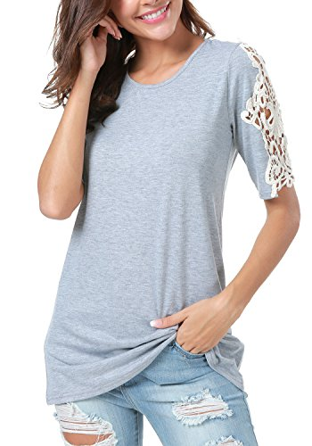 LAINAB Women Plain Lace Short Sleeve Loose Fit Casual Blouse Tunic Tee Shirt Gray XL