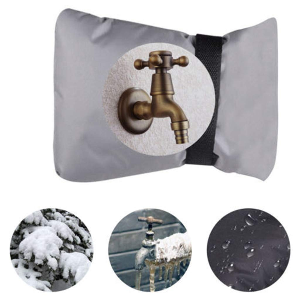 fasloyu Outdoor Faucet Cover Insulated Garden Faucet Socks for Winter Freeze Protection Water Resistance (Gray)